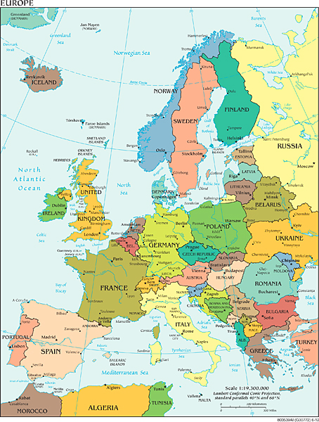 Political boundaries of Europe