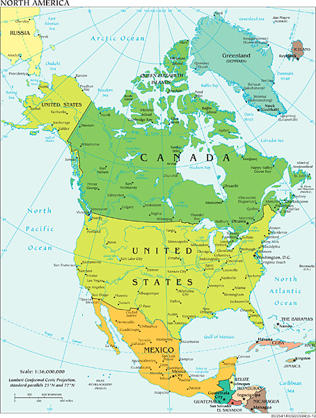 Political boundaries of North America